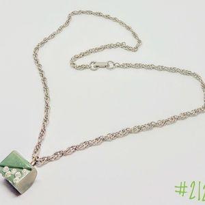 Green Bakelite stone with rhinestones necklace.